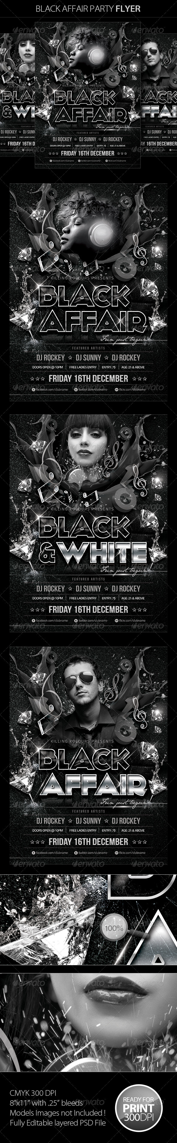 Black Affair Party Flyer - Clubs & Parties Events