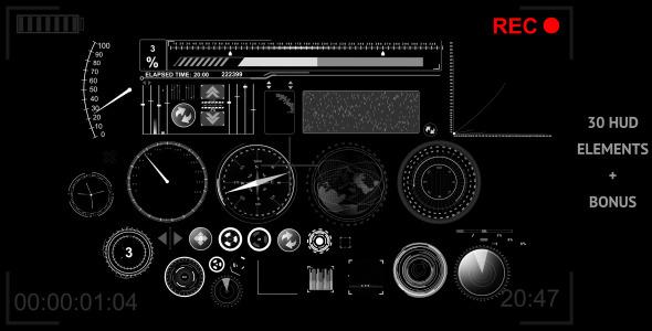 VideoHive 30 HUD Elements 3715313