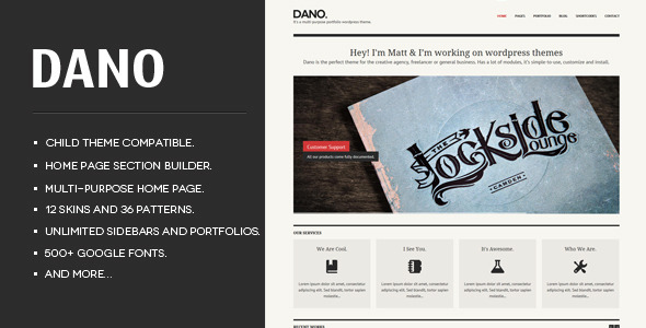 Dano Multi-purpose & Responsive WordPress Theme  - The theme preview image.