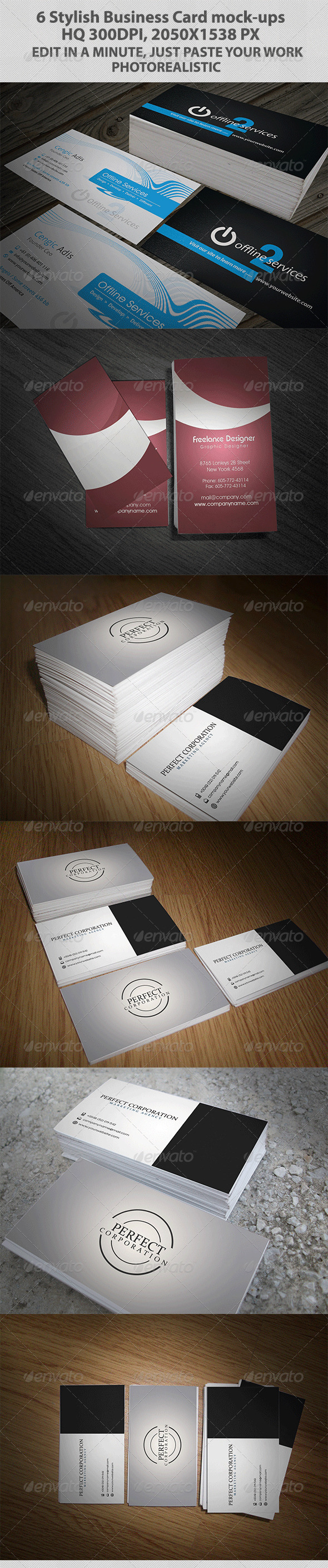 GraphicRiver Six Stylish Business Card Mock-ups 3716165