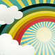 Rainbow with Sunshine & Clouds; Retro Style - GraphicRiver Item for Sale