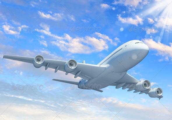 PhotoDune White passenger plane in the blue sky 3717433