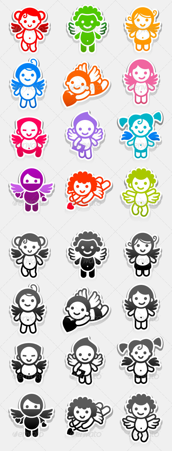 Colored Set Stickers Angels - Valentines Seasons/Holidays