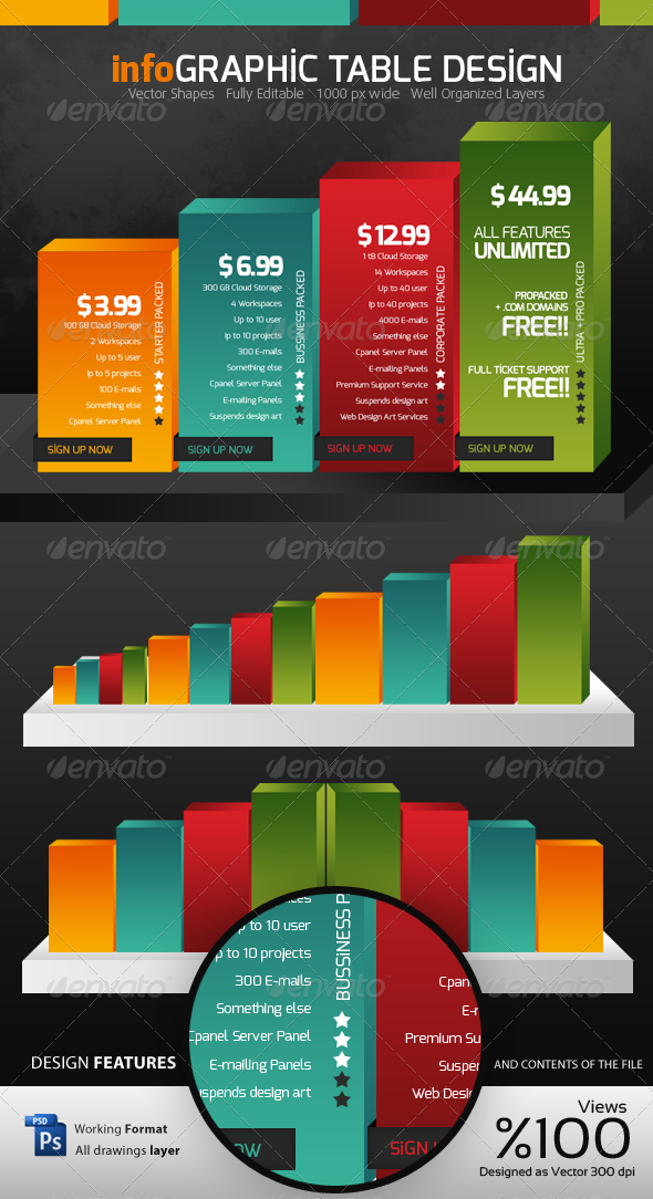 Infographic Table Design - Tables Web Elements