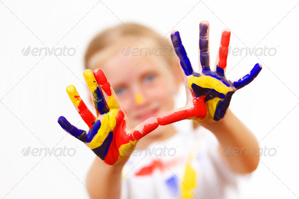 PhotoDune happy child with paint on the hands 3717441