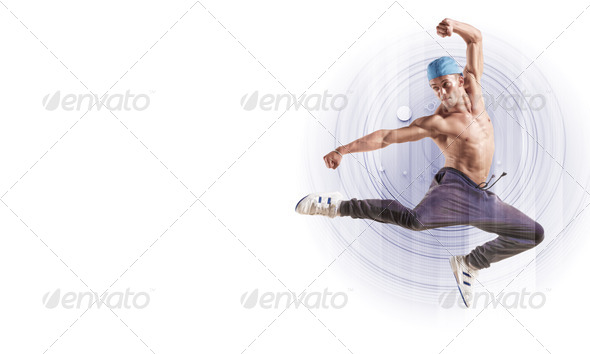 PhotoDune young man dancing hip hop with color lines 3717443