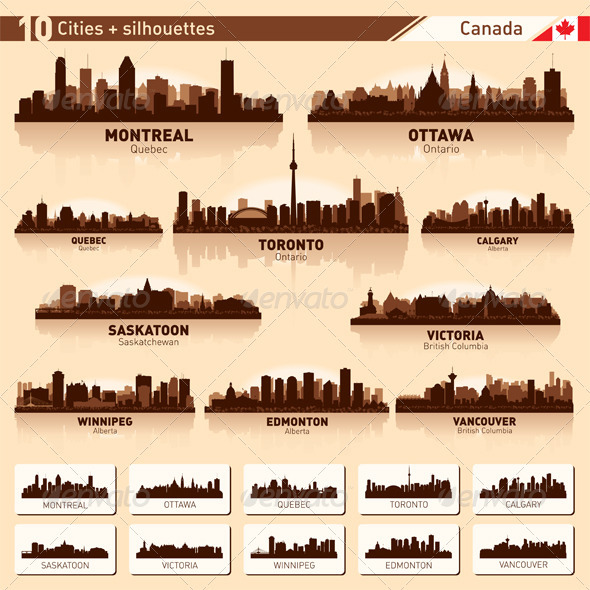 GraphicRiver City Skyline Set Canada Vector Silhouettes 3716625