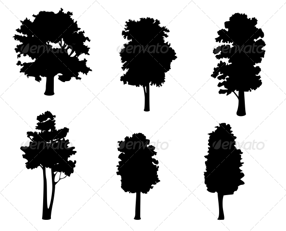 GraphicRiver Tree Silhouettes 3717238