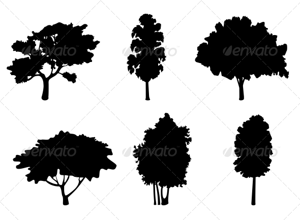 GraphicRiver Tree Silhouettes 3717282