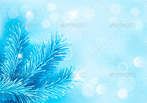 Holiday Blue Background with Tree Branches