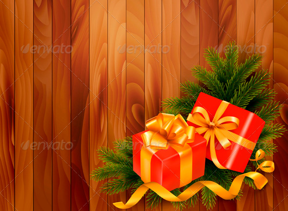GraphicRiver Holiday Background with Christmas Tree Branches 3718162