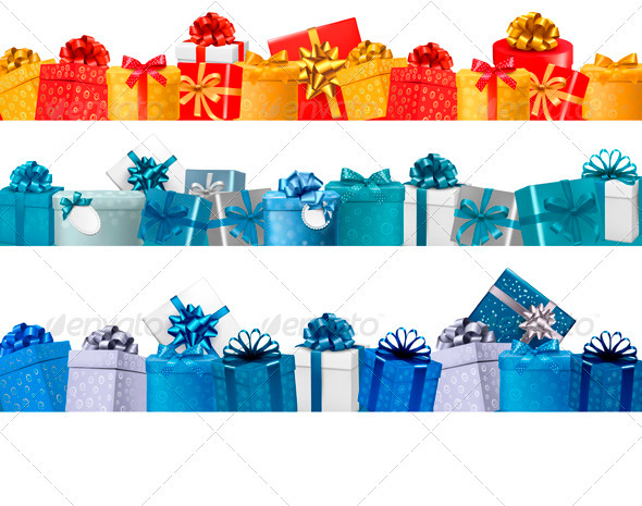 GraphicRiver Collection of Holiday Banners with Colorful Gifts 3718166