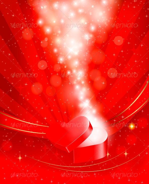 Valentines Day Background with Open Red Gift Box