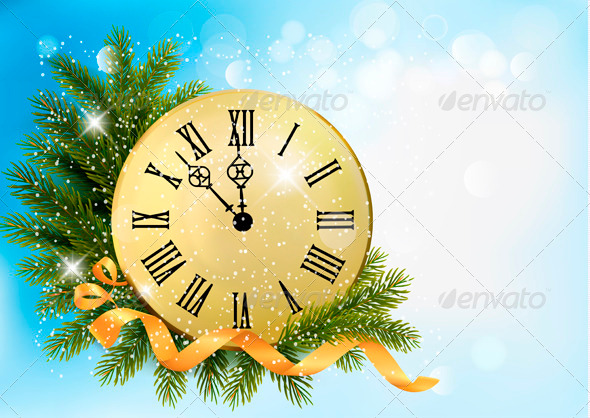 GraphicRiver Holiday Background with Tree Branches and Clock 3718170