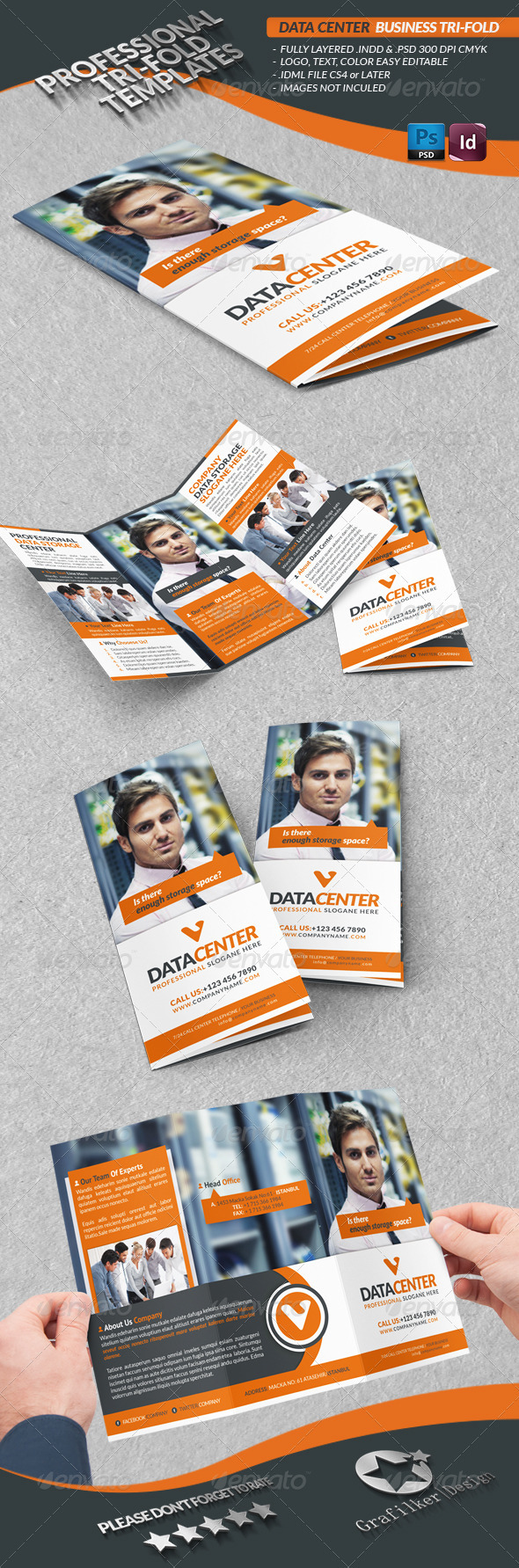 GraphicRiver Data Center Business Tri-Fold 3671188