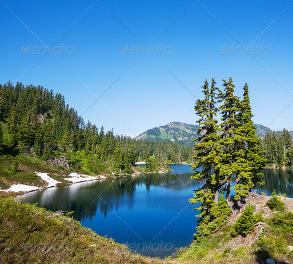 Lake in mountains - Stock Photo - Images