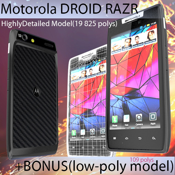 High Poly Motorola Droid RAZR + Low Poly Bonus - 3DOcean Item for Sale