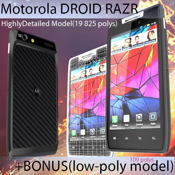 3DOcean High Poly Motorola Droid RAZR & Low Poly Bonus 3718624