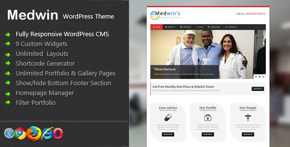ThemeForest Medwin Responsive Medical WordPress Theme 3487236