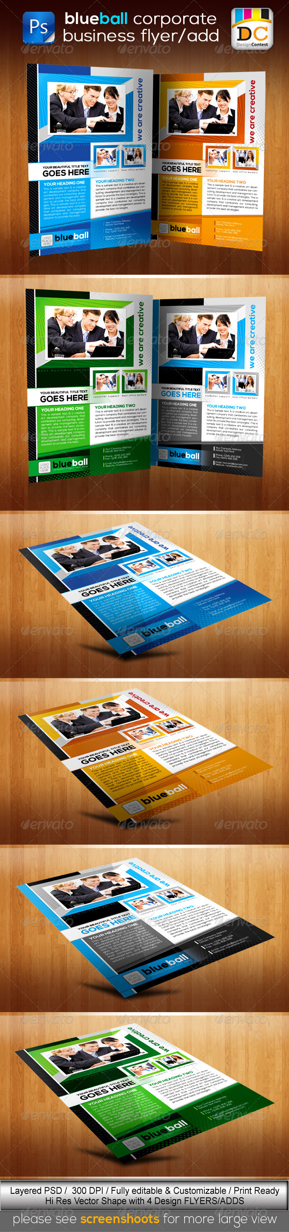 GraphicRiver BlueBall Corporate Business Flyers Adds 3719073