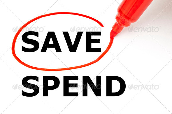Save or Spend with Red Marker - Stock Photo - Images