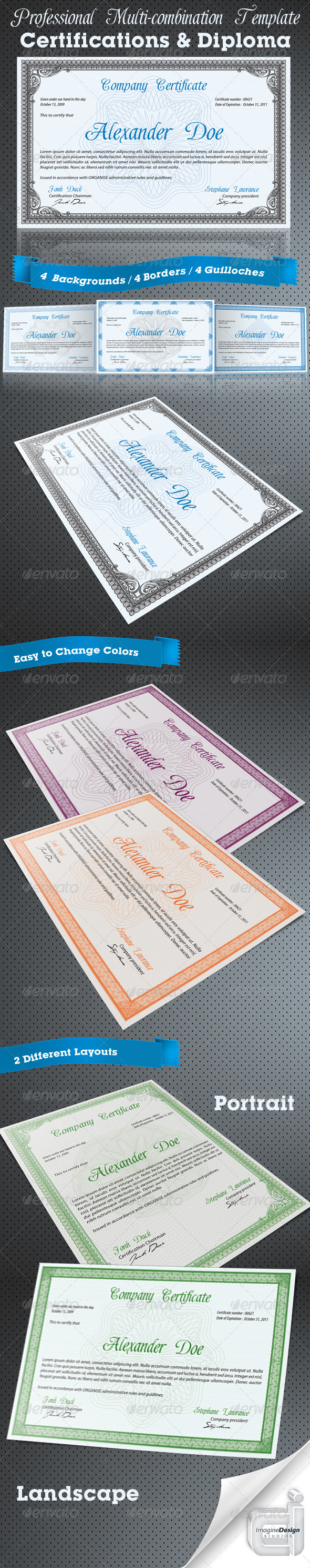 Professional Certificate or Diploma Templates - Certificates Stationery