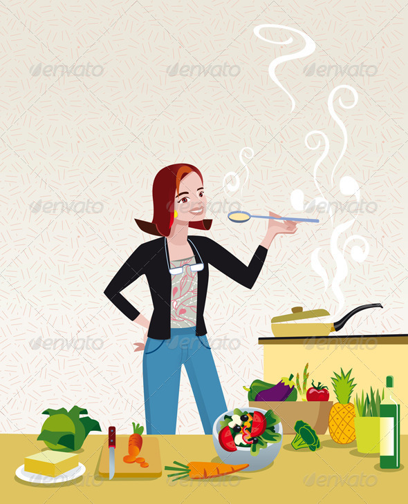 GraphicRiver Woman Cooking 3719220