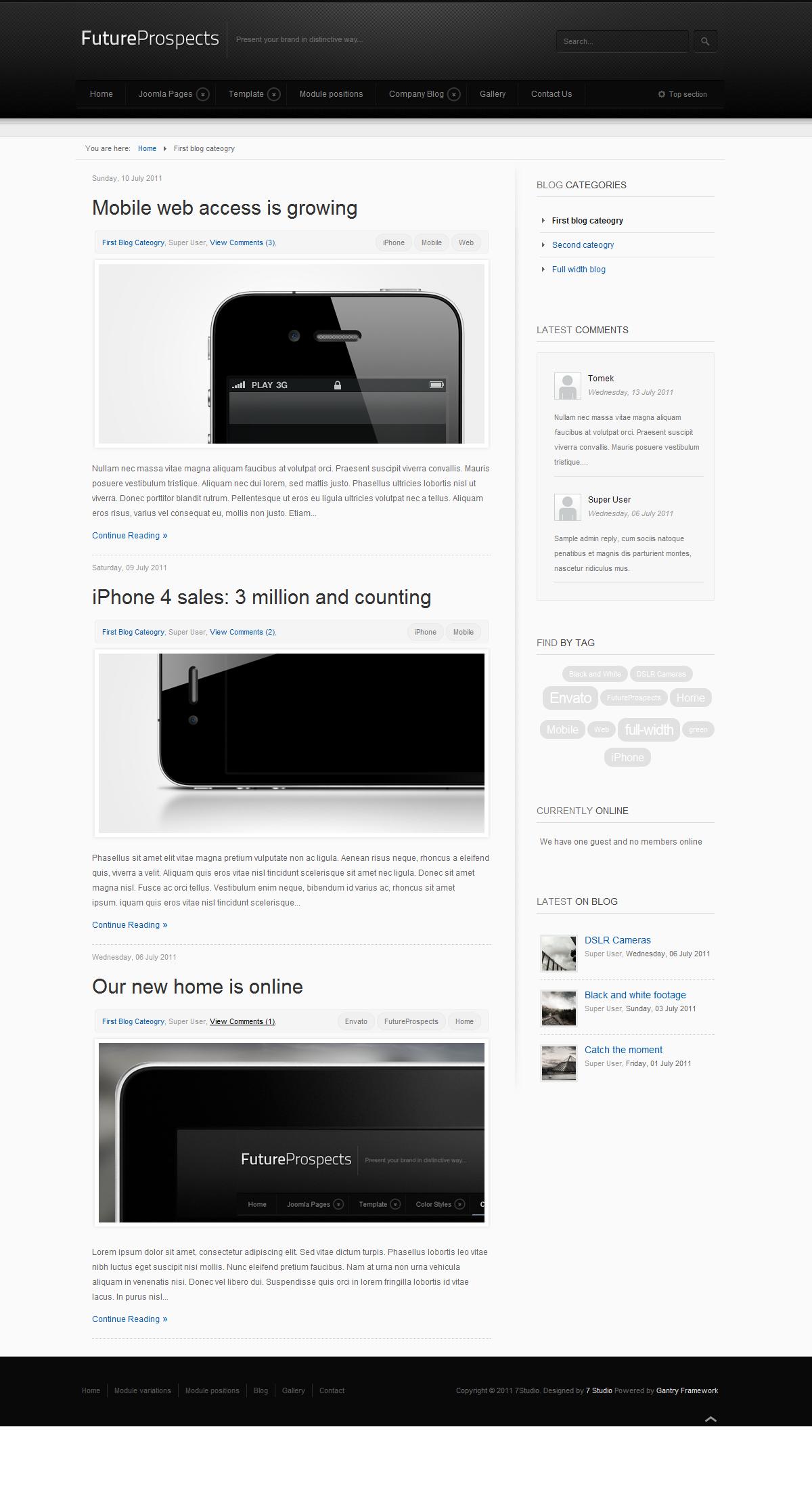 FutureProspects Stylish Corporate Joomla Template