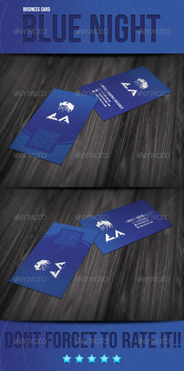 GraphicRiver Blue Night Business Card 3719821