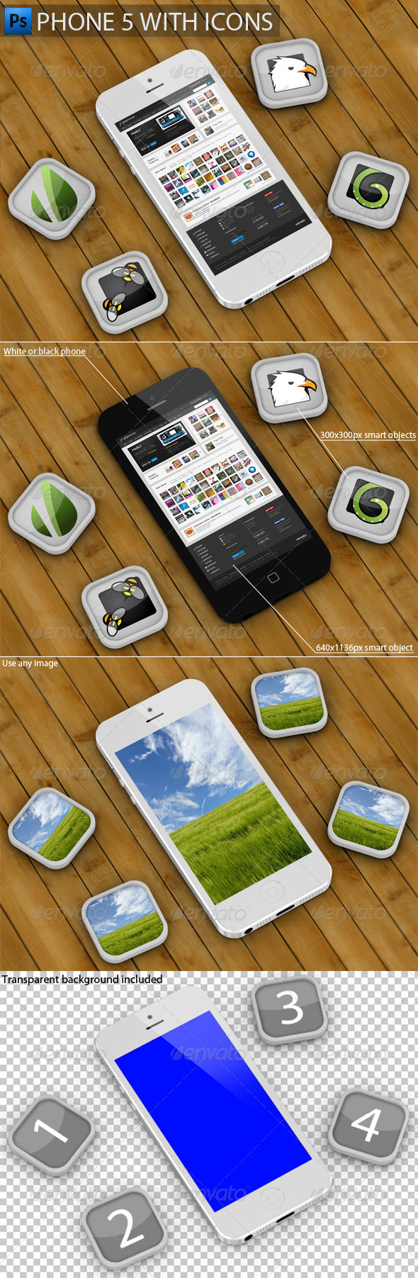 GraphicRiver Phone 5 with Icons Mockup 3719822