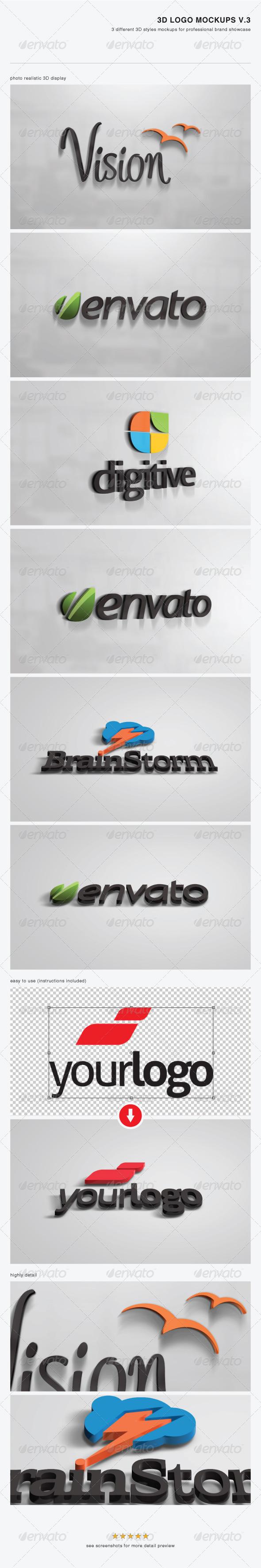 GraphicRiver 3D Logo Mockups V.3 3720028