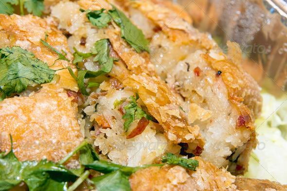 PhotoDune Chinese Fried Chicken Stuffed with Glutinous Rice Macro 3720216