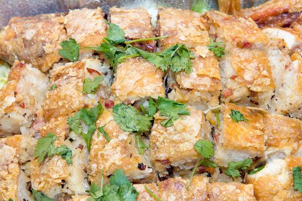 PhotoDune Chinese Fried Chicken Stuffed with Glutinous Rice Closeup 3720214