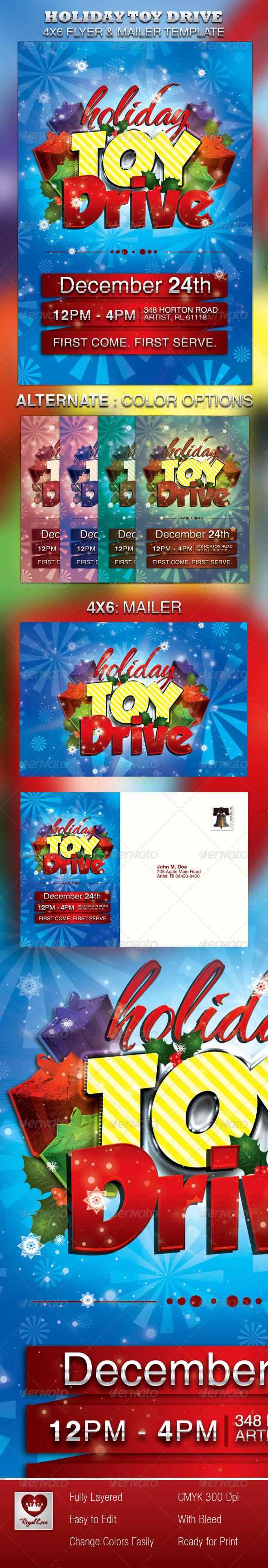 holiday toy drive flyer mailer graphicriver. Black Bedroom Furniture Sets. Home Design Ideas