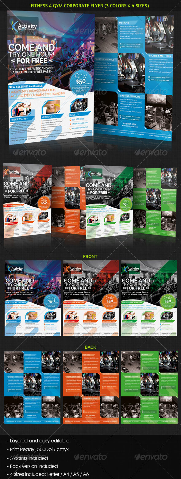 GraphicRiver Fitness & Gym Sports Business Flyer 3720501