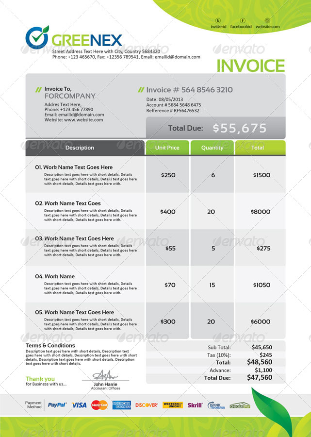 Nice Invoice Design  Design    Form Design