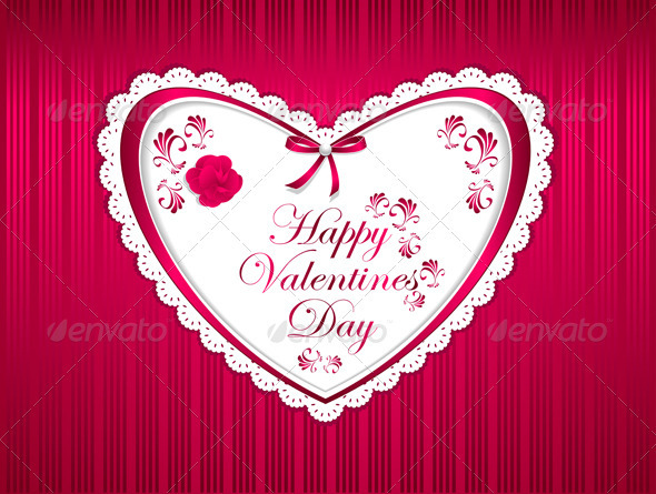 GraphicRiver Happy Valentines Day with Flower Ribbon 3721266