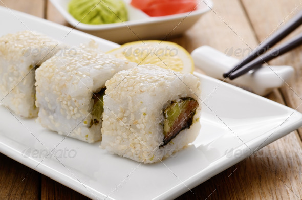 PhotoDune California rolls on a white plate with wasabi and ginger 3721336