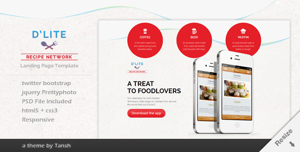 D'lite Responsive HTML Landing Page Template - Creative Landing Pages