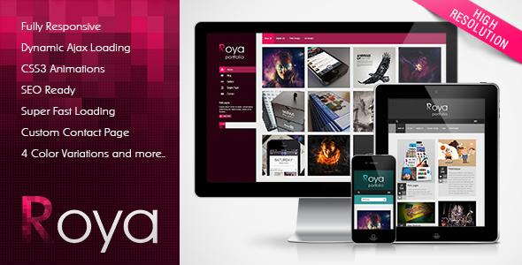 ThemeForest Roya Responsive AJAX Portfolio WordPress Theme 3645867