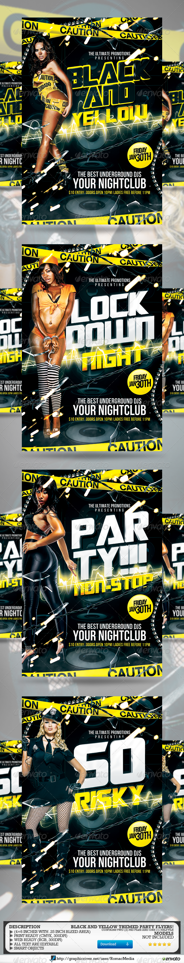 GraphicRiver Black and Yellow Multi-Title Party 3722165