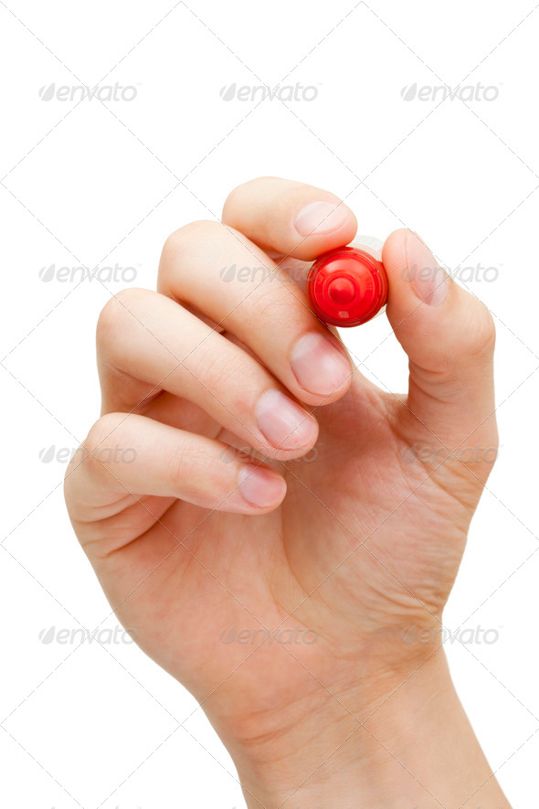 Hand Holding Red Marker - Stock Photo - Images