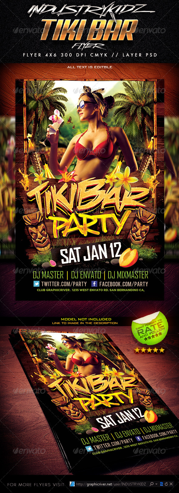 GraphicRiver Tiki Bar Party Flyer 3724645