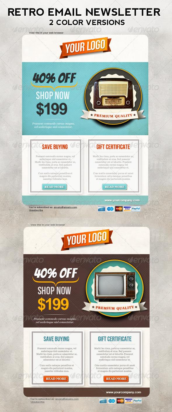 Retro Newsletters for E-commerce Businesses - E-newsletters Web Elements