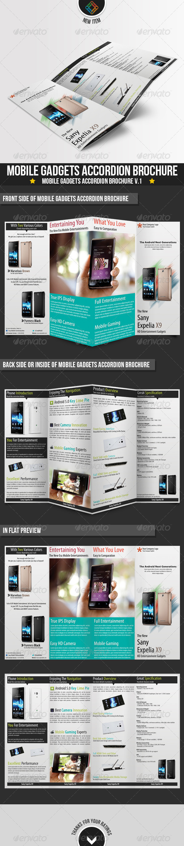 Modern Mobile Gadgets Accordion Brochures - Brochures Print Templates