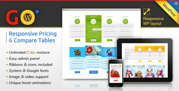 CodeCanyon Go Responsive Pricing & Compare Tables for WP 3725820