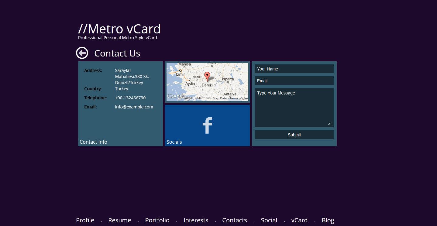 Metro vCard - Responsive Metro Style vCard