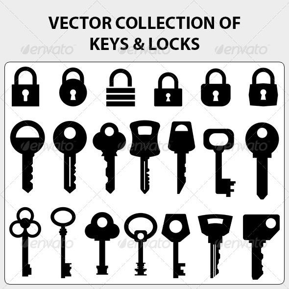 GraphicRiver Vector Collection of Keys and Locks 3726019