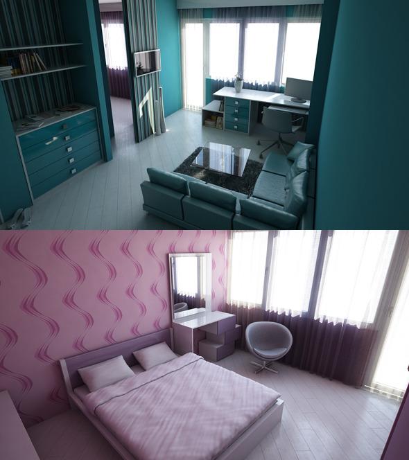 3DOcean Livingroom & Bedroom 400916