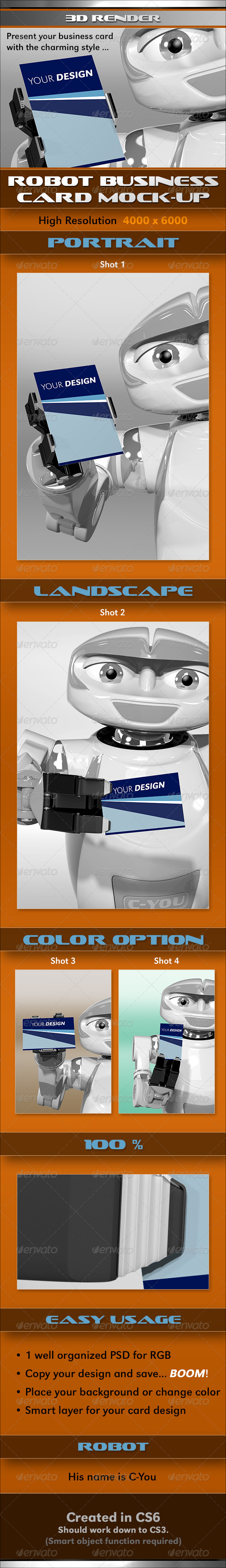 GraphicRiver Robot Business Card MockUp 3726358